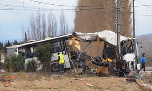 The wreckage of the school bus in Millas, near Perpignan, southern France.