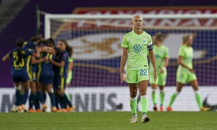 Wolfsburg's Pernille Harder looks dejected after Lyon won the Champions League final.