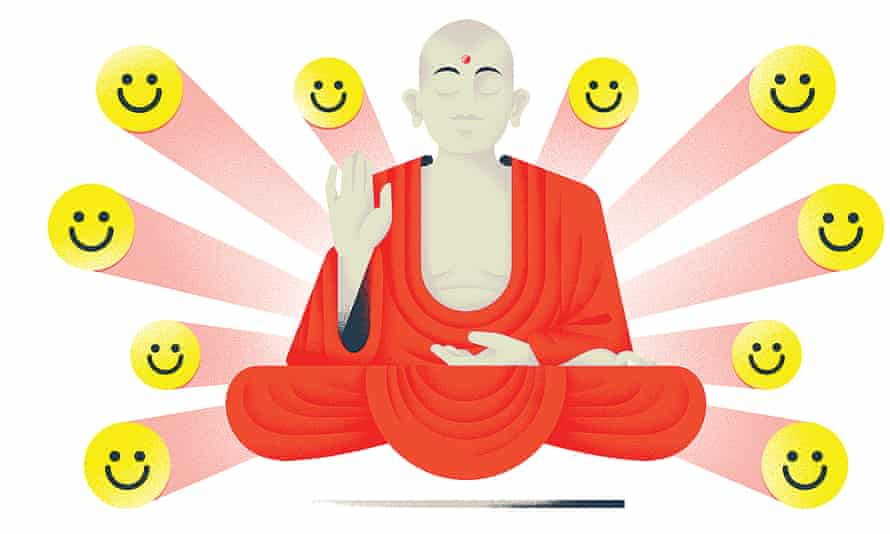 Buddha floating off the ground surrounded by smiley faces