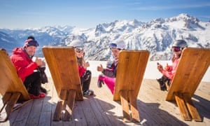 Family enjoying view at Serre Chevalier ski resort, France