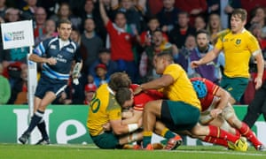 George North fails to get the ball down during a period of impressive defence from Australia at Twickenham.