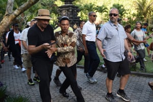 Bali, Indonesia: Barack Obama visits the Tirtha Empul temple in Tampaksiring