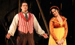 Careful revival … Riccardo Massi as Cavaradossi and Angela Gheorghiu as Tosca at the Royal Opera House, London.