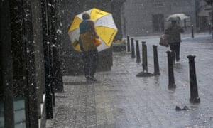 Heavy rain in Lundin, Fife.