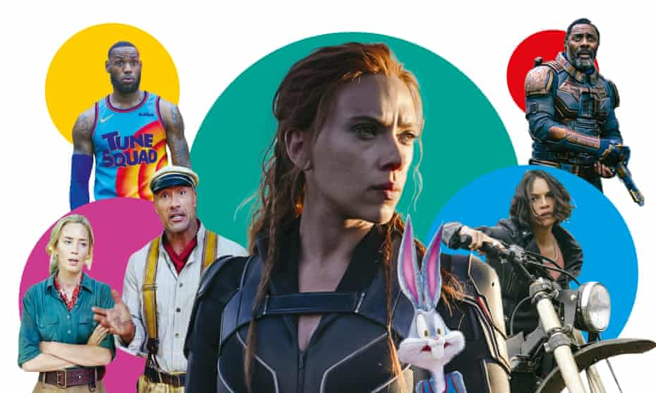 Battle of the blockbusters ... (l-r) Jungle Cruise; Space Jam: A New Legacy; Black Widow; Fast & Furious 9; The Suicide Squad.