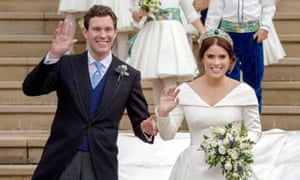 Princess Eugenie and Jack Brooksbank leaving St George's Chapel in Windsor Castle following their wedding, in October 2018.