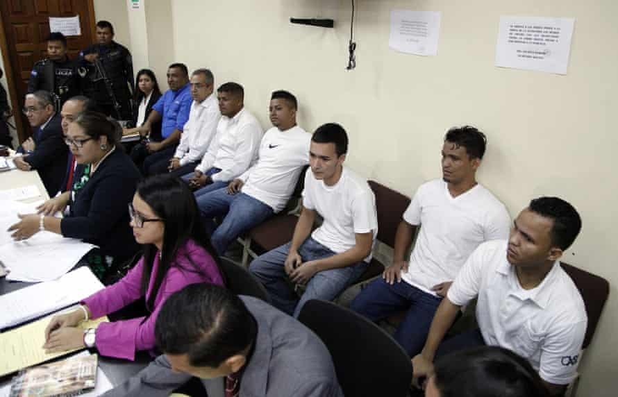 In an October 2018 photo, men accused in the murder of Berta Cáceres sit in the courtroom in Tegucigalpa, Honduras.