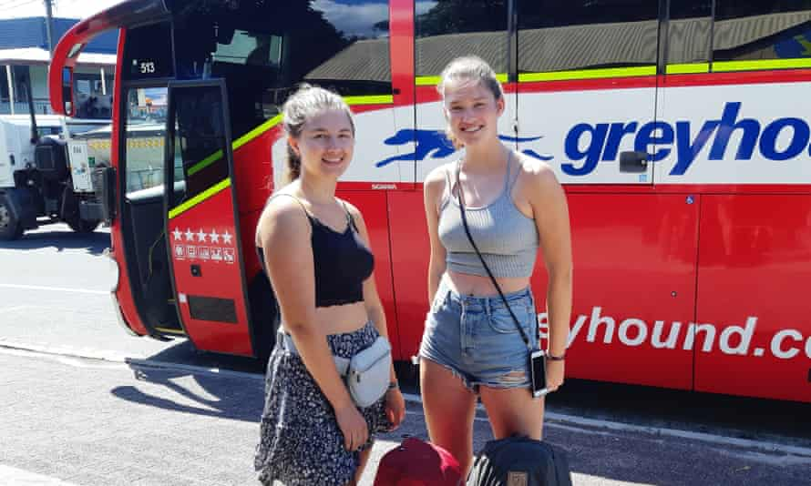 Finnish backpackers Lynn Maendartsma and Lles Schign were on the last Greyhound bus into Byron Bay