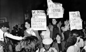 Schulman at a pro-choice protest in the 1980s.