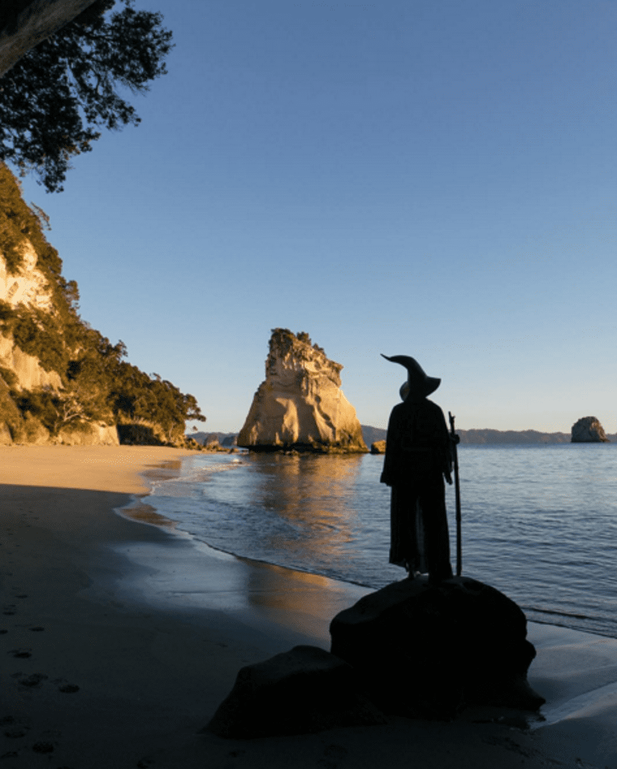 Gandalf at Cathedral Cove, New Zealand.