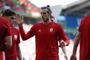 Bale of Wales Wales encourages his team mates.