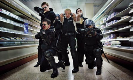 Braying … Considine, front left, in Hot Fuzz with Rafe Spall, Simon Pegg, Nick Frost and Olivia Colman.