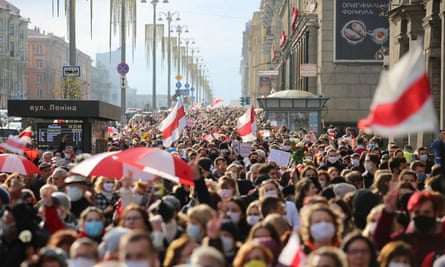 Protesters in Minsk at a rally against the presidential election results in Belarus.
