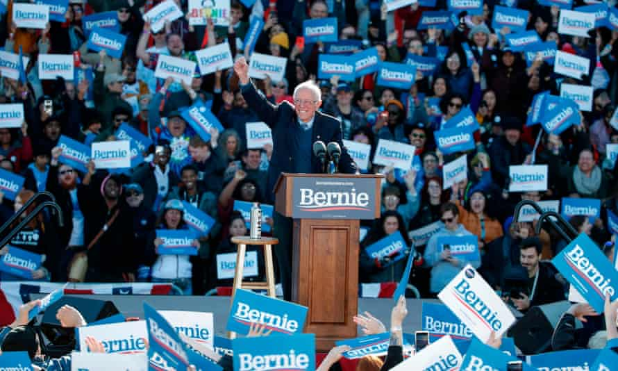 Democratic presidential hopeful Bernie Sanders addresses a campaign rally at Grant Park Petrillo Music Shell in Chicago, Illinois, on Saturday.