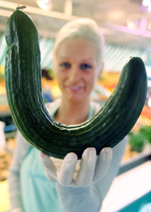 A cucumber with an extreme curvature.