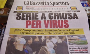 The Italian sports newspaper La Gazzetta Sportiva that says 'The Serie A Football League closed for Virus.