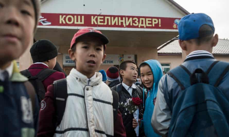 Children outside their school in Ak-Bata