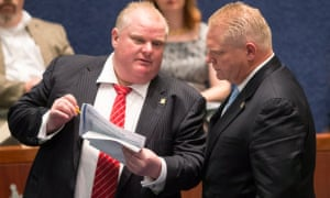 The late Toronto mayor Rob Ford and his brother Doug. The Progressive Conservative party has named Doug Ford as its new leader in Ontario.