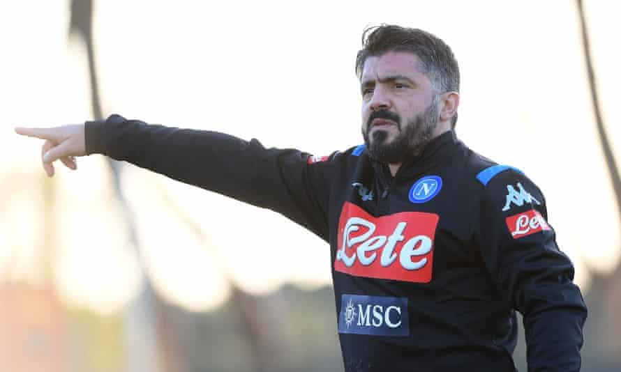 Gennaro Gattuso has already taken charge of his first Napoli training session.
