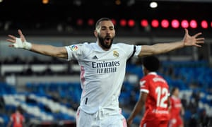 Karim Benzema celebrates – but his goal is eventually chalked off by VAR.