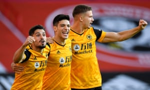 Raúl Jiménez flanked by Pedro Neto and Leander Dendoncker after scoring Wolves' first goal of the season, three minutes into the game at Sheffield United