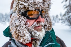 Stenevad, his beard and hat equally covered in snow.