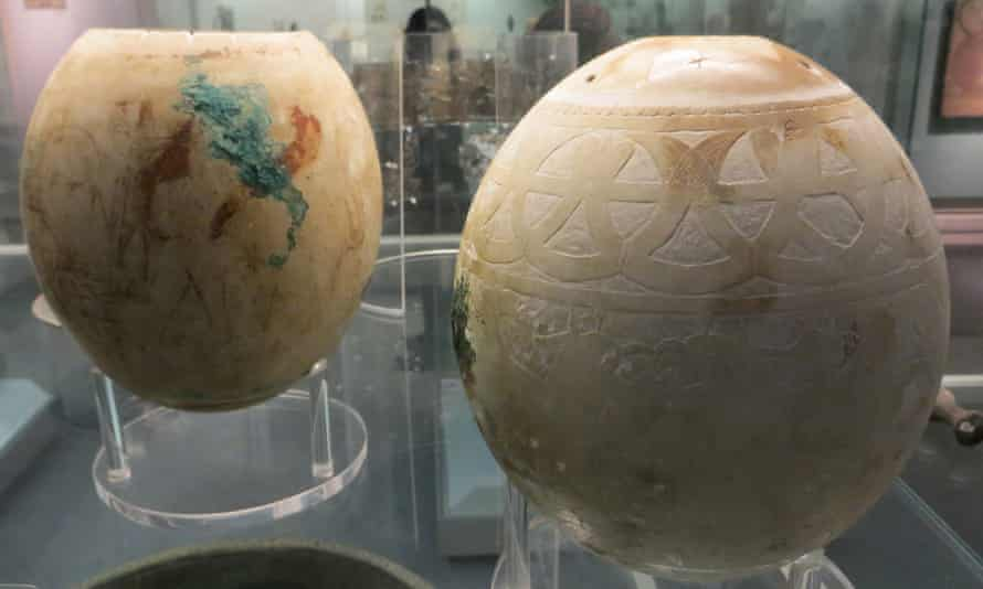 Decorated ostrich eggs on display at the British Museum in London.