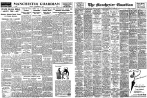 Manchester Guardian front pages, 27 and 29 September 1952