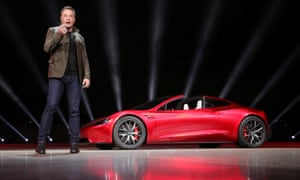 Elon Musk unveils the Roadster 2 in Hawthorne, California on 16 November 2017.