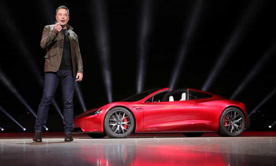 Elon Musk unveils the Roadster 2 in Hawthorne, California on 16 November 2017.