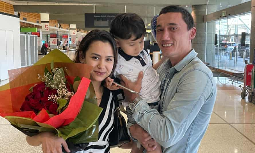 Sadam Abudusalam reunited with wife Nadila Wumaier and son Lufty after their return from China's Xinjiang province.