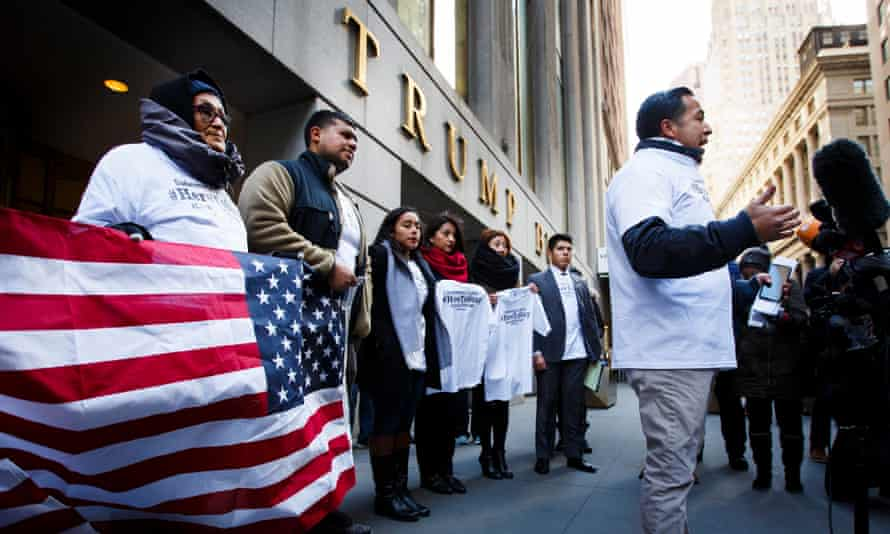 A group of undocumented or Daca-protected immigrants holds a press conference in front of a Trump building in Washington.