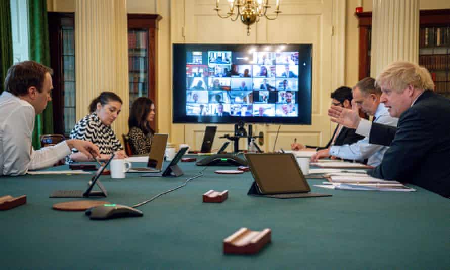 Boris Johnson holds a digital cabinet meeting, April 2020.