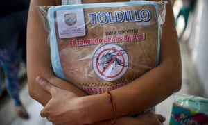 A pregnant woman holds a mosquito net in Cali, Colombia