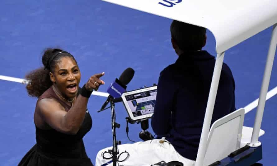 Serena Williams yells at umpire Carlos Ramos during the US Open women's singles final against Naomi Osaka.