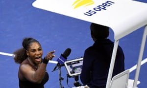 Serena Williams shouts at the chair umpire Carlos Ramos during her US Open final defeat by Naomi Osaka.