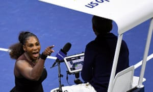 Serena Williams yells at the chair umpire Carlos Ramos in the US Open women's final.