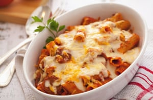 Baked rigatoni with sausage.