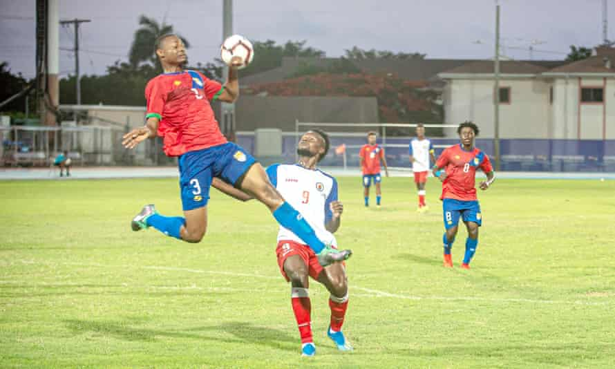 Cayman Islands (in red) in action against Haiti.