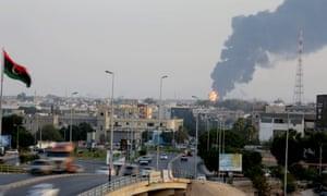 A fuel depots on fire in Libya.
