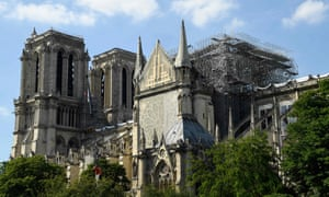 A view of scaffolding on Notre Dame Cathedral as repairs take place