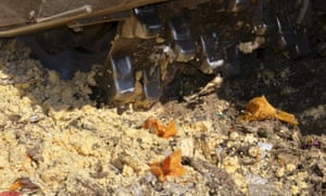 Bulldozer destroying illegally imported cheese in the Belgorod region