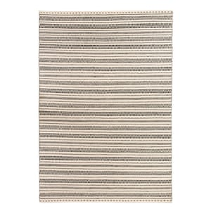 black and white patterned rug, wool.