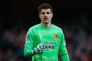 Eldin Jakupovic of Hull City reacts his save.