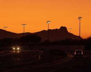 Tucson, Arizona at sunset on 26 August 2019.