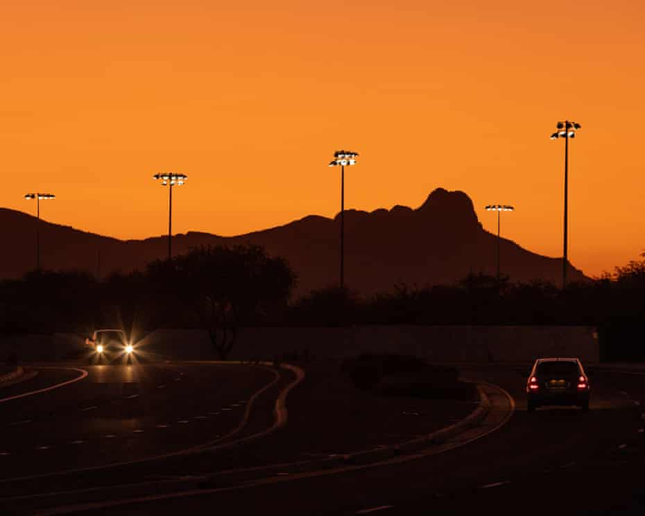 The Tucson landscape during sunset.
