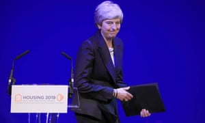 Theresa May after speaking at the Chartered Institute of Housing Conference at the Exchange Auditorium in Manchester.