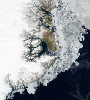 Sea ice hugging the coast of east Greenland