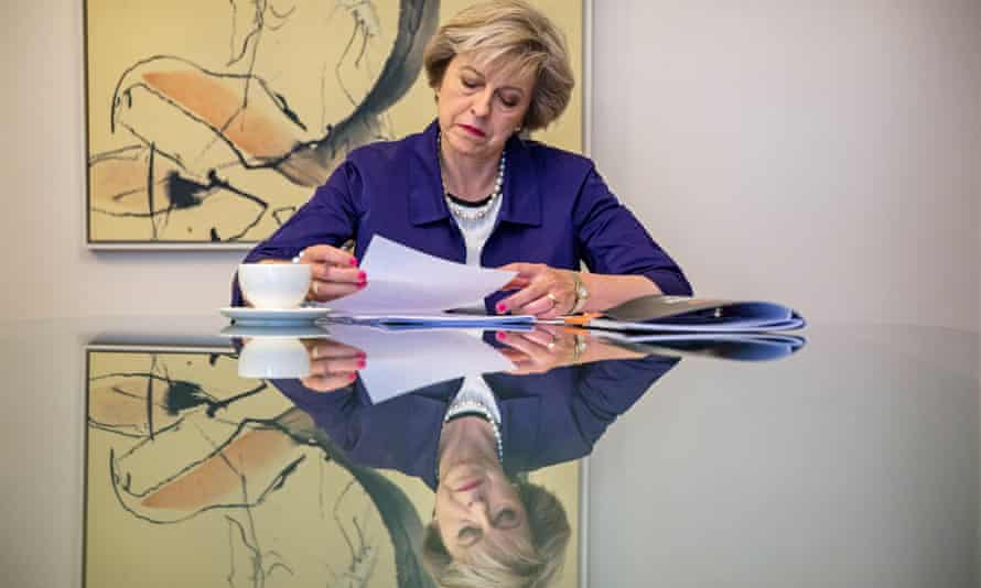 Theresa May prepares for her speech at the Conservative party conference in Birmingham.