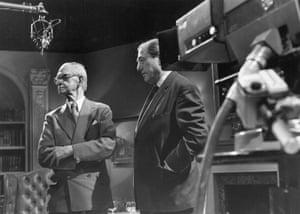 Neville Cardus and John Arlott during the recording of the recording of the BBC interviews in 1973.